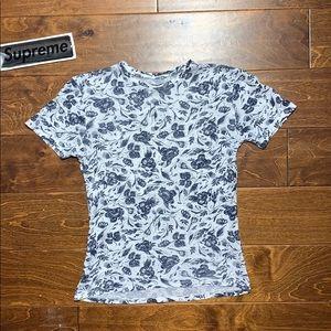 Floral pattern tee 100% linen shirt blue flowers